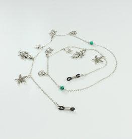 Brillenkoord Zilveren Zeedieren En Turkoois Kralen