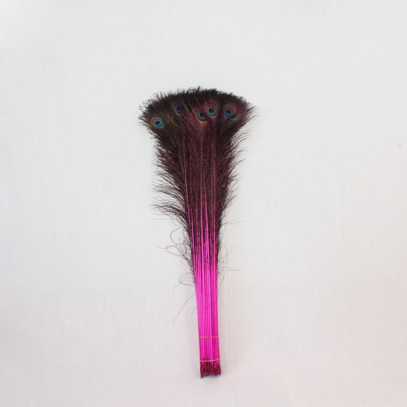 Pauwenveren 10 stuks - 70 tot 80 cm roze geverfd