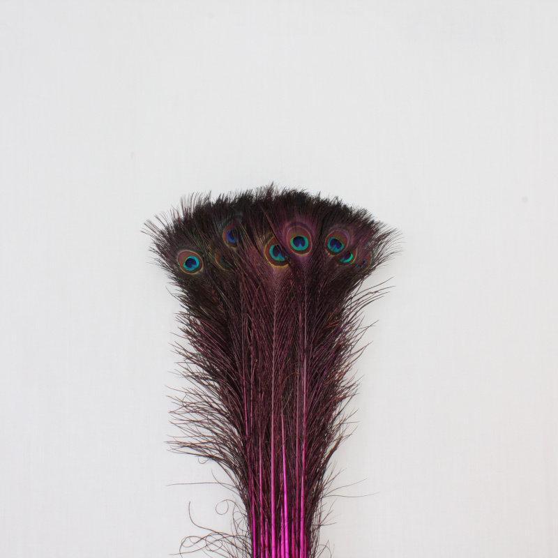 Pauwenveren 20 stuks - 70 tot 80 cm roze geverfd
