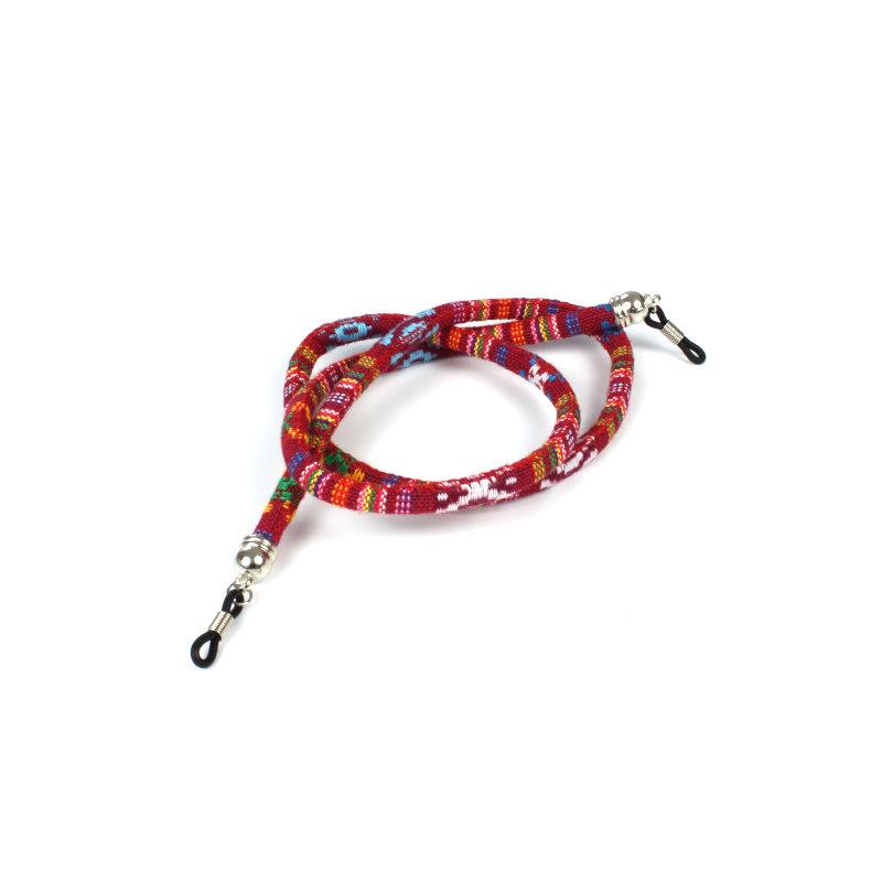Brillenkoord hip Ibiza katoen geweven rood