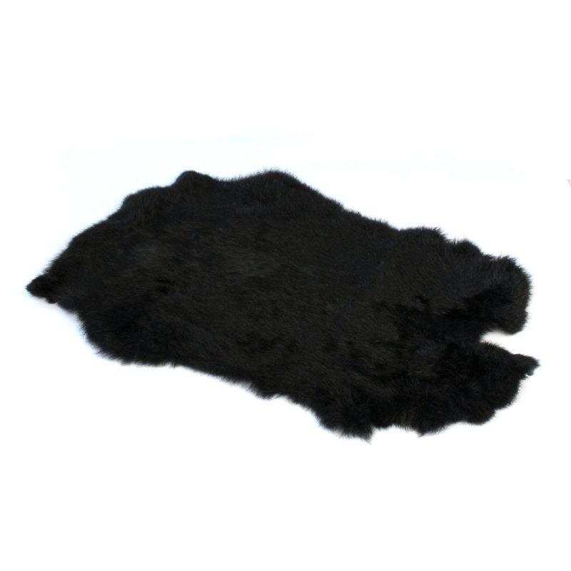 Janshop Konijnenvacht 40 x 30cm zwart geverfd