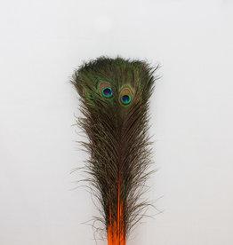 Pauwenveren 20 stuks - 70 tot 80 cm oranje geverfd