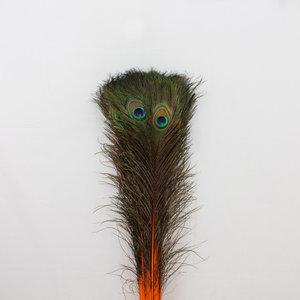 Pauwenveren 10 stuks - 70 tot 80 cm oranje geverfd