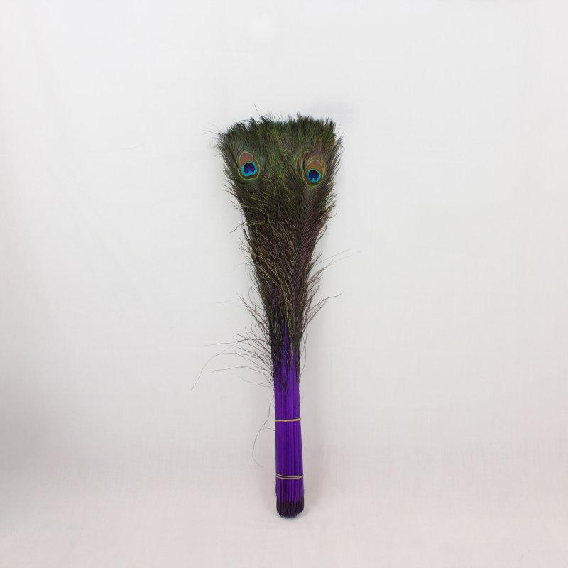 Pauwenveren 20 stuks - 70 tot 80 cm paars geverfd