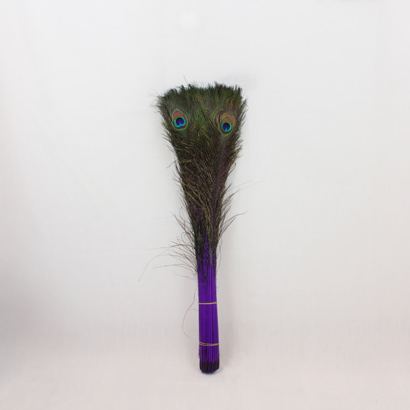 Pauwenveren 10 stuks - 70 tot 80 cm paars geverfd