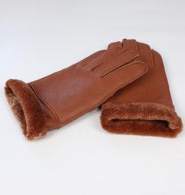 Bruine lederen handschoenen met schapenvachtvoering - unisex