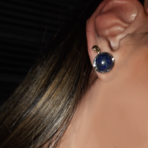 Lapis lazuli Stud Oorbellen Platinum plated