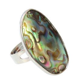 Janshop Abalone Schelp Verzilverde Ring Verstelbaar