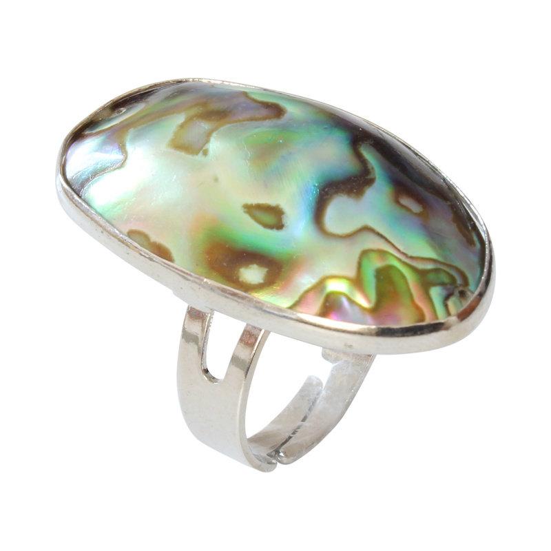 Abalone Schelp Verzilverde Ring Verstelbaar