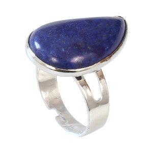 Janshop Lapis Lazuli Verzilverde Ring Verstelbaar