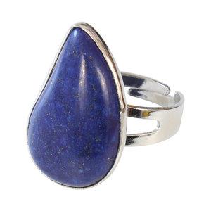 Lapis Lazuli Verzilverde Ring Verstelbaar