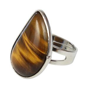 Janshop Tijgeroog Waterdruppel Verzilverde Ring Verstelbaar