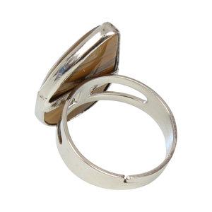 Tijgeroog Waterdruppel Verzilverde Ring Verstelbaar