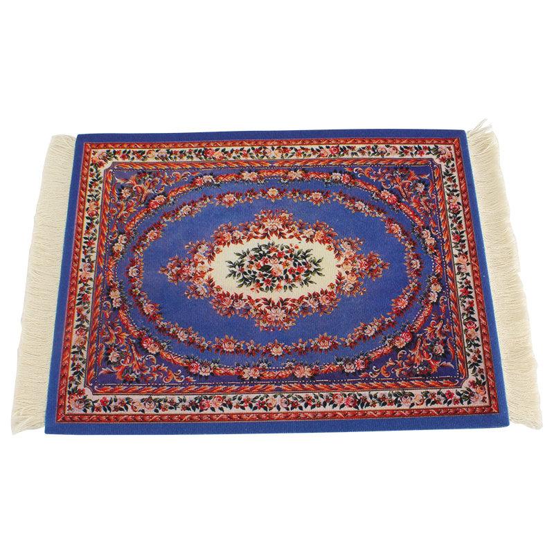 Janshop Kobaltblauw Vintage Muismat Perzisch Tapijt met Kwastjes