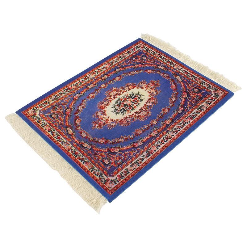Kobaltblauw Vintage Muismat Perzisch Tapijt met Kwastjes