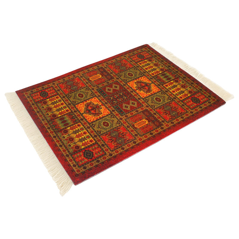 Terracotta Rood Muismat Perzisch Tapijt met Kwastjes