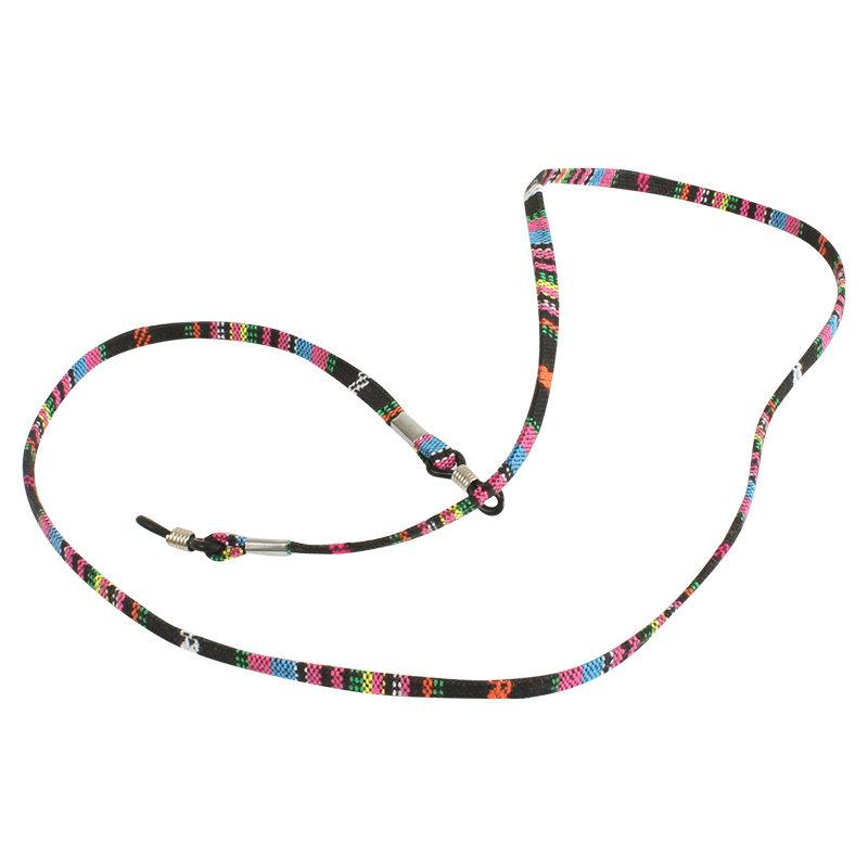 Brillenkoord hip Ibiza katoen zwart met roze plat