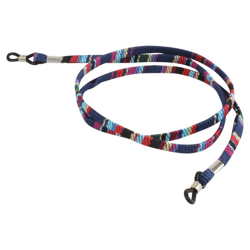 Brillenkoord hip Ibiza katoen donkerblauw kleuren mix plat