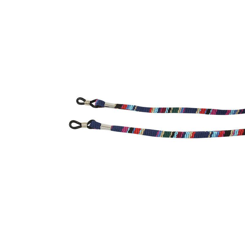 Janshop Brillenkoord hip Ibiza katoen donkerblauw kleuren mix plat