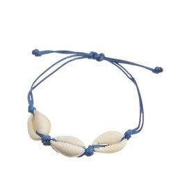 Janshop Enkelbandje met 3 schelpjes aan bescheiden touwtje marineblauw