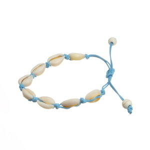 Janshop Enkelbandje schelpjes met kralen uiteinde lichtblauw
