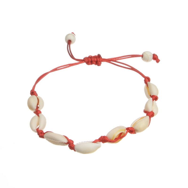 Janshop Enkelbandje schelpjes met kralen uiteinde rood
