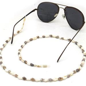 Janshop Brillenkoord Fashion zwart, wit en bruine tint Schelpjes