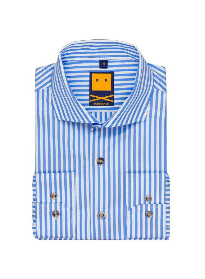 Spread Collar Striped Blue Shirt