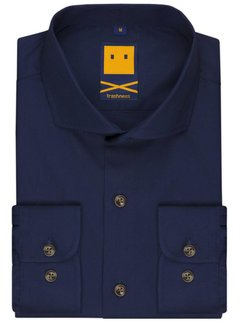 Trashness SPREAD COLLAR NAVY SHIRT