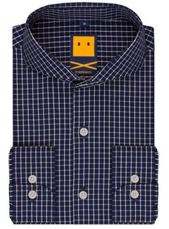 Trashness CUTAWAY CHECKED NAVY SHIRT