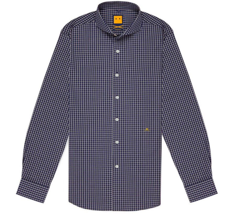 CUTAWAY CHECKED NAVY SHIRT