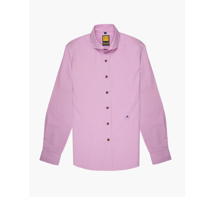 Spread Collar Striped Pink