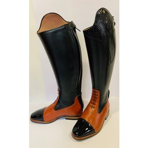 Petrie Jumping Boots (laced) 25% discount J620-5.5 Aberdeen laced riding boot with elastic section  black+cognac+patent nose UK 5.5 45-41.5-40