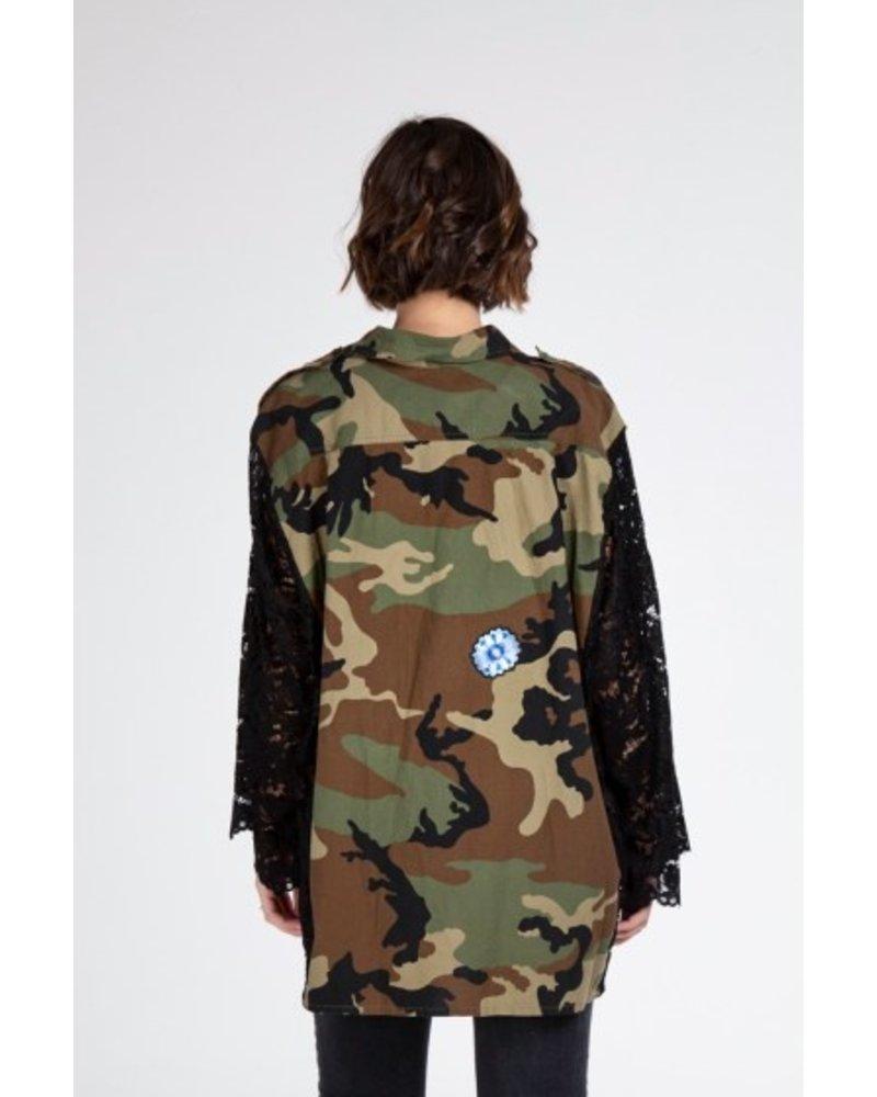 Kikisix camouflage oversized vintage hemd met kant