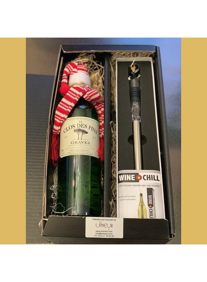 Gift set met Clos des Pins Graves Blanc en Winechill