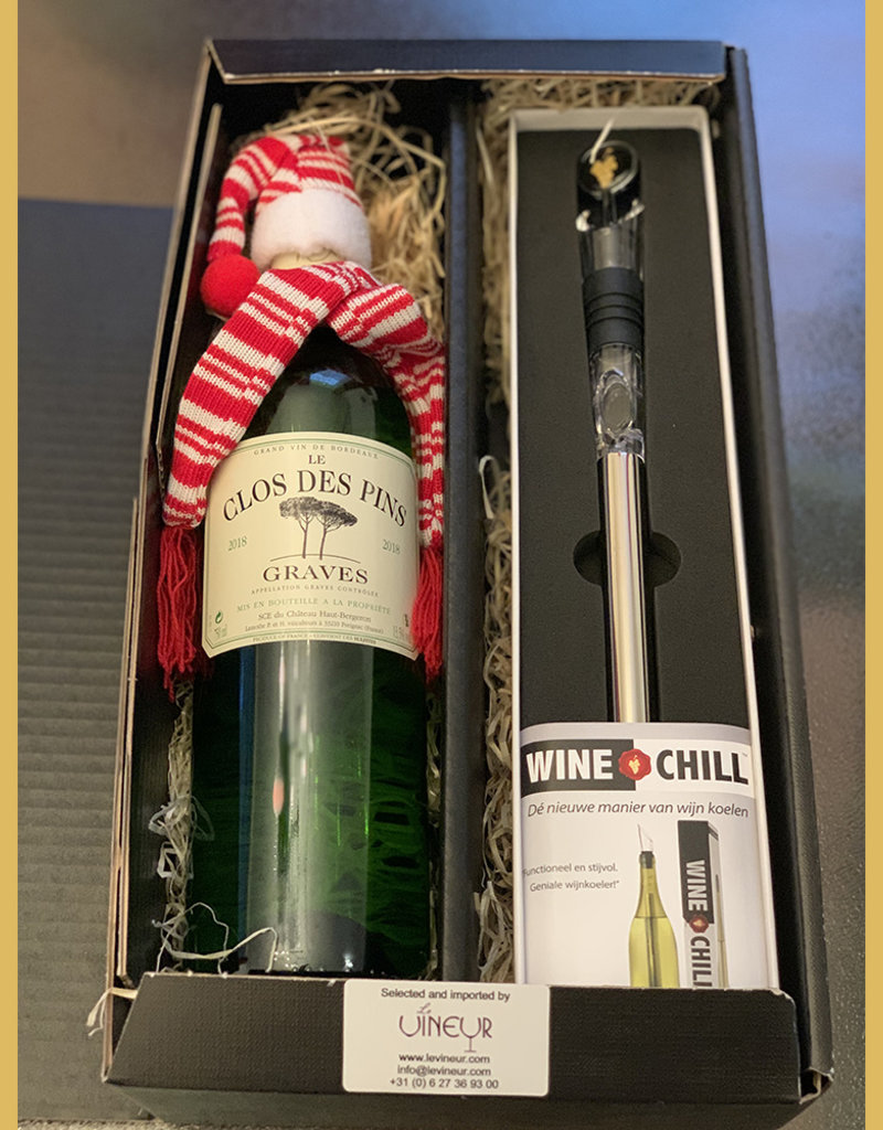 Gift set with Clos des Pins Graves Blanc and Winechill