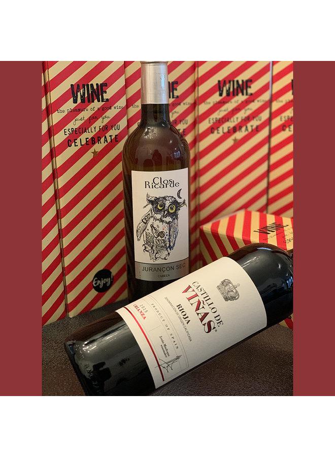 Wijnfles in giftbox