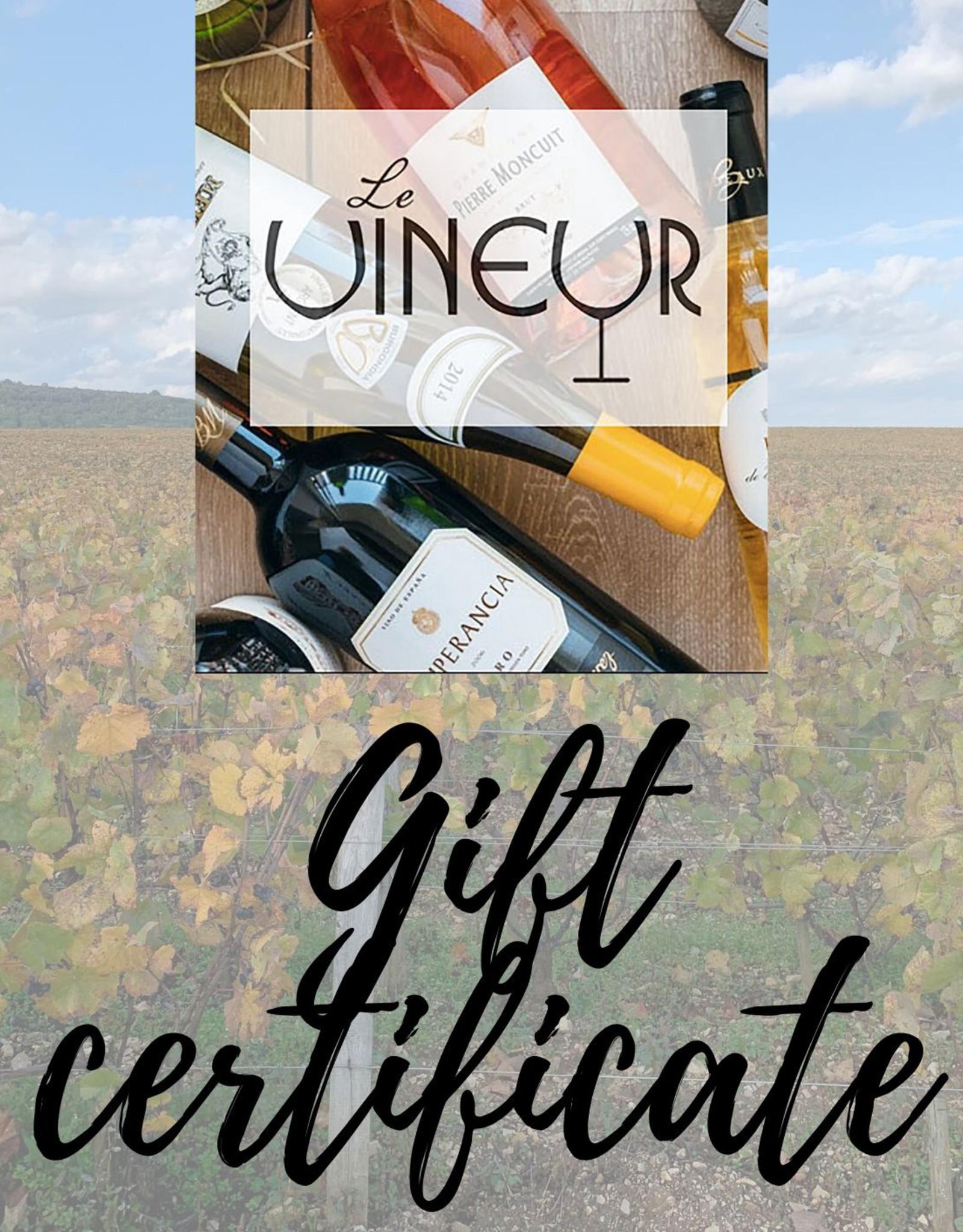 Le Vineur Gift Certificate