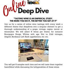 Online Deepdive - wekelijkse online wijnproeverij met wisselend thema