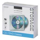 Vivanco Vivanco 2CD/2DVD doosjes 5 stuks met transparante tray