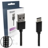 A-DAPT USB-C laad- / datakabel 1m nylon T178 zwart