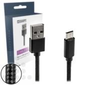 A-DAPT A-DAPT micro USB-B laad-datakabel 1m nylon zwart T176