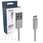 A-DAPT Micro USB-B laad- / datakabel 1m nylon wit