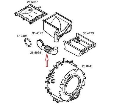 Bosch zeepbak- kuip slang van wasmachine 00265958