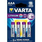 Varta Varta batterij AAA potlood LR03 1.5V Lithium 4stuks