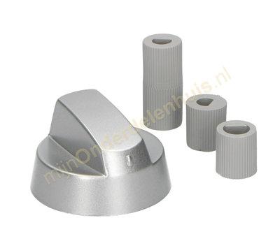 Universele knop voor fornuis zilver set à 5 stuks
