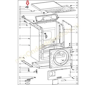Miele klemstuk van deksel wasdroger 6850210