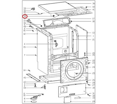 Miele spanklauw van deksel wasmachine 7366681
