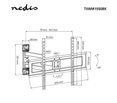 "Nedis TV muurbeugel 30 - 70"" TVWM1550BK"