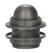 EGB EGB fitting E27 met schroefdraad en 2 ringen -zwart-